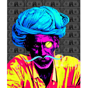 US wale Munim ji by Sanuj Birla, Pop Art Digital Art, Digital Print on Canvas, Gray color