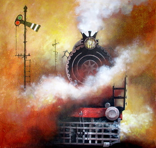 Indian Steam Locomotives 19 by Kishore Pratim Biswas, Impressionism Painting, Acrylic on Canvas, Brown color