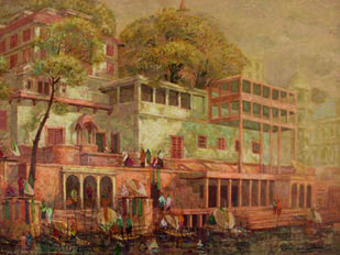Banaras Series II by Yashwant Shirwadkar, Impressionism Painting, Oil on Canvas, Brown color