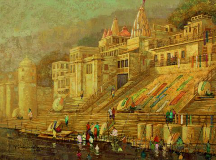 Banaras Series III by Yashwant Shirwadkar, Impressionism Painting, Oil on Canvas, Brown color