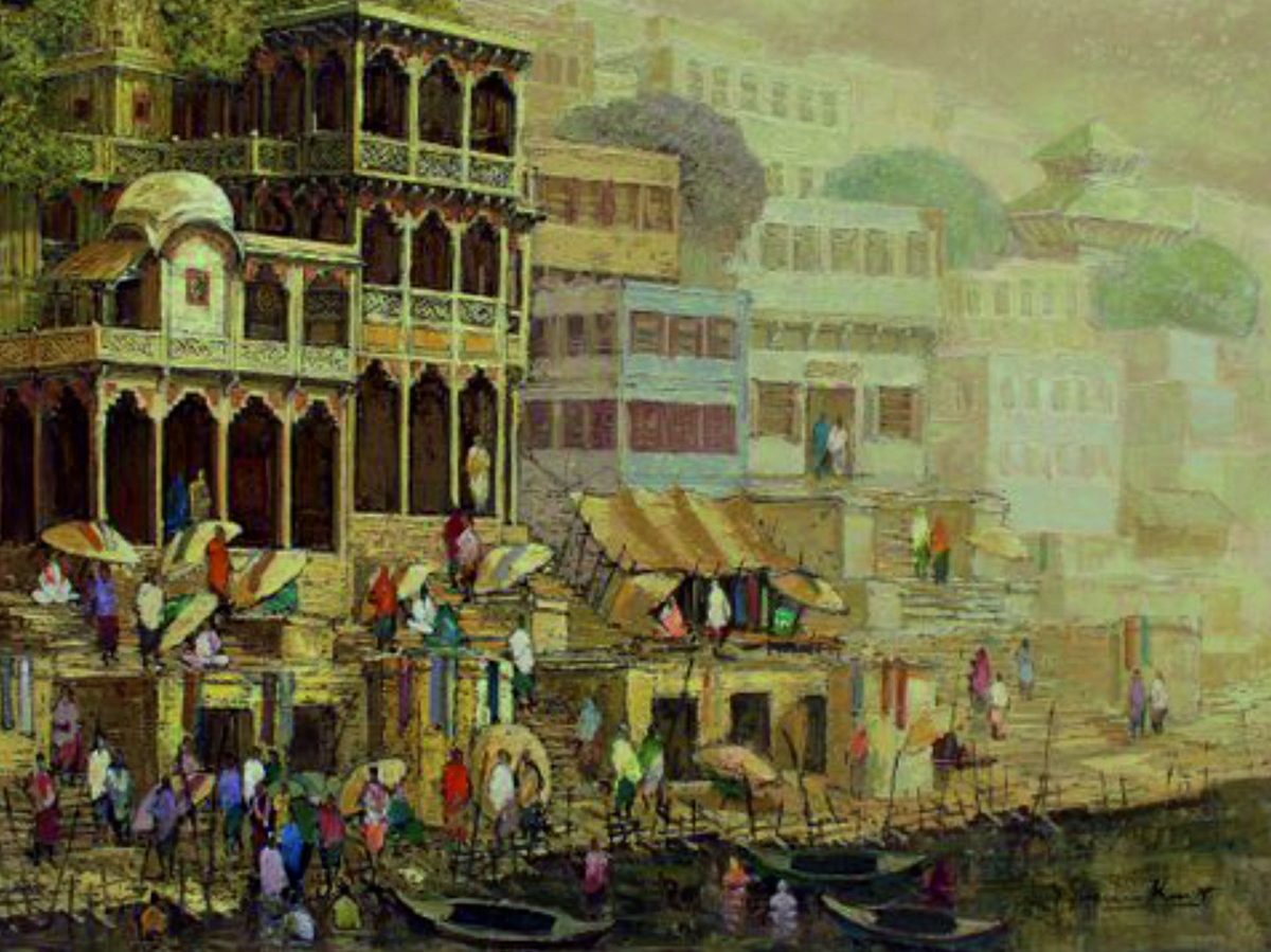 Banaras Series IV by Yashwant Shirwadkar, Impressionism Painting, Oil on Canvas, Brown color
