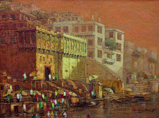 Banaras Series V by Yashwant Shirwadkar, Impressionism Painting, Oil on Canvas, Brown color
