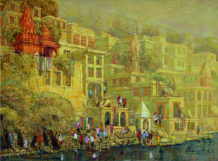 Banaras Series VI by Yashwant Shirwadkar, Impressionism Painting, Oil on Canvas, Beige color