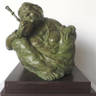 Laxmi Chachi by Debabrata De, Art Deco Sculpture | 3D, Bronze, Gray color