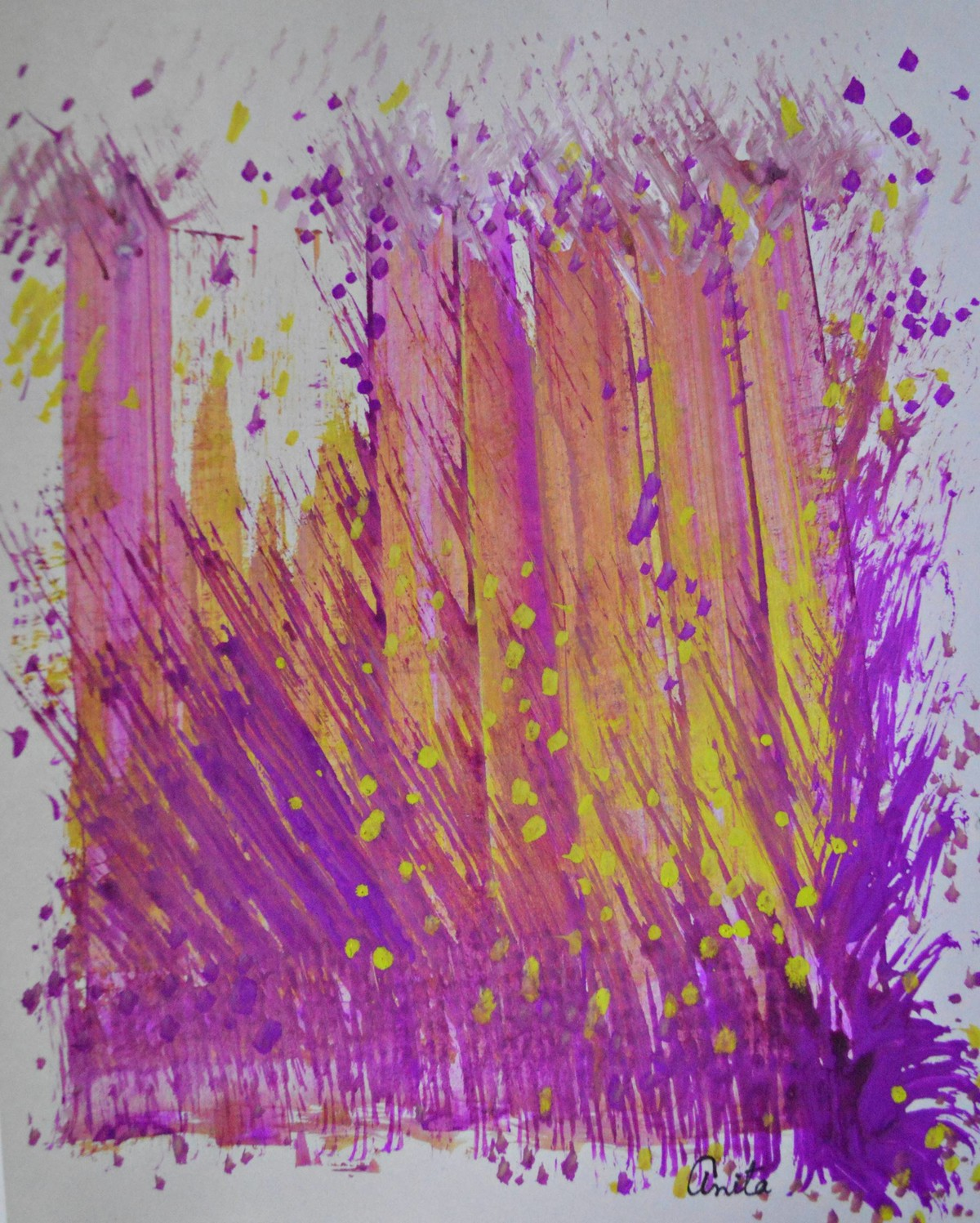 Visionary Sounds by Anita Tiwary, Abstract Painting, Watercolor on Paper, Purple color