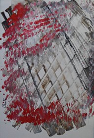 Red Wonder by Anita Tiwary, Abstract Painting, Watercolor on Paper, Gray color