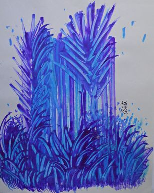 Naturescape 1 by Anita Tiwary, Abstract Painting, Watercolor on Paper, Blue color