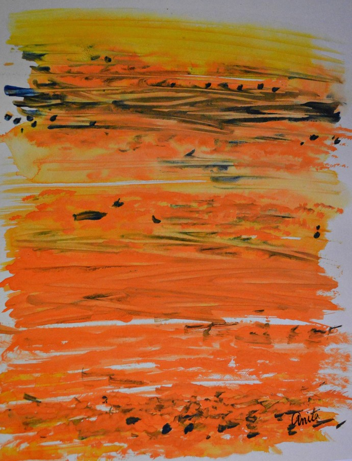 Seascape 1 by Anita Tiwary, Abstract Painting, Watercolor on Paper, Brown color