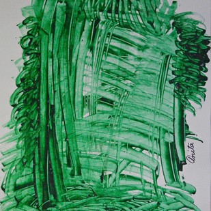 Naturescape 2 by Anita Tiwary, Abstract Painting, Watercolor on Paper, Green color