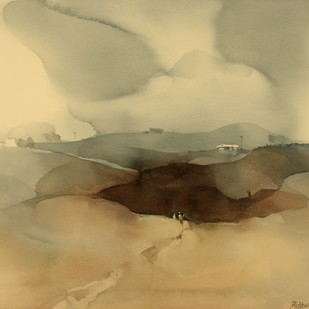 Taking shortcut to beat the rains by Prashant Prabhu, Impressionism Painting, Watercolor on Paper, Beige color