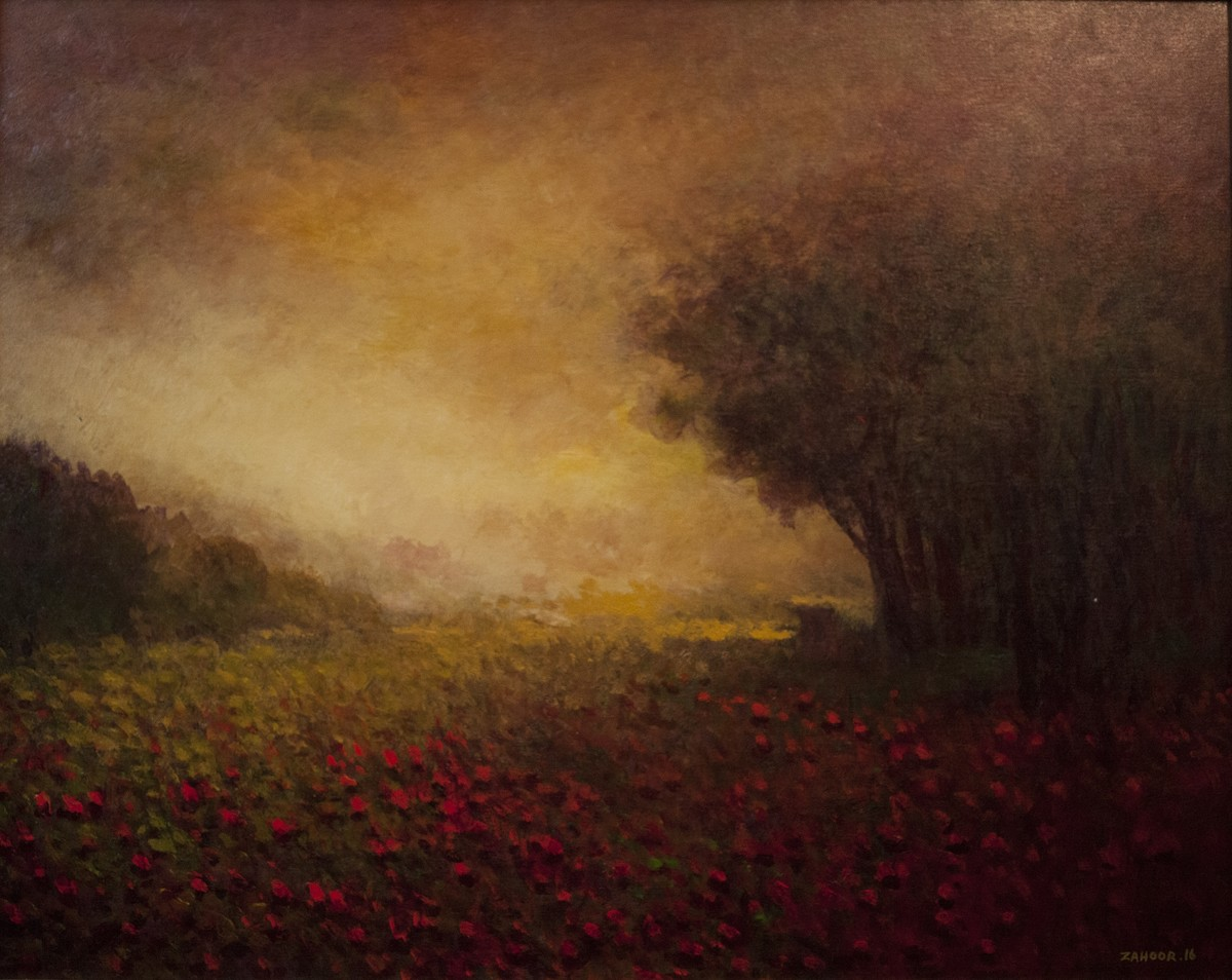 Sandhya by Zargar Zahoor, Impressionism Painting, Mixed Media on Canvas, Brown color