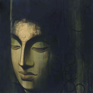 The Blessed One - I by Anand Panchal, Expressionism Painting, Acrylic on Canvas, Blue color