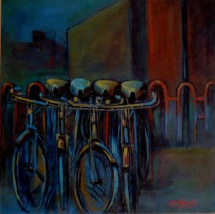 cycle stand by Ram Kumar Maheshwari, Realism Painting, Acrylic on Canvas, Blue color