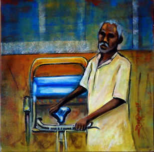 RIKSHAW PULLAR by Ram Kumar Maheshwari, Expressionism Painting, Acrylic on Canvas, Brown color