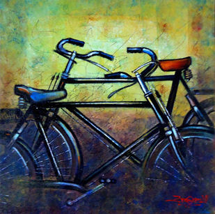 REST by Ram Kumar Maheshwari, Realism Painting, Acrylic on Canvas, Blue color