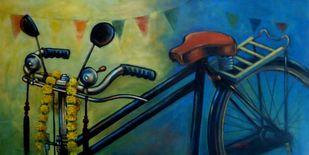 CELEBRATION by Ram Kumar Maheshwari, Realism Painting, Acrylic on Canvas, Green color