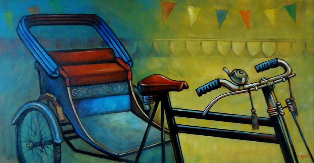RIKSHAW by Ram Kumar Maheshwari, Realism, Realism Painting, Acrylic on Canvas, Green color