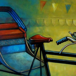 RIKSHAW by Ram Kumar Maheshwari, Realism, Realism Painting, Acrylic on Canvas, Green color