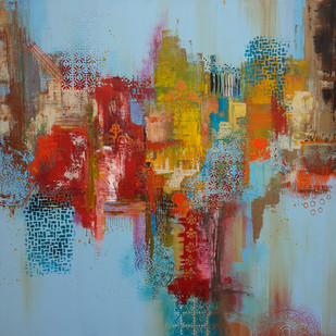 Blue by Sheetal Singh, Abstract Painting, Acrylic on Canvas, Brown color