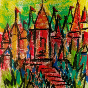 TEMPLE STEPS by Aditya Dev, Geometrical Painting, Oil Pastel on Paper, Brown color