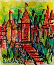 TEMPLE STEPS by Aditya Dev, Geometrical Painting, Oil Pastel on Paper, Brown color