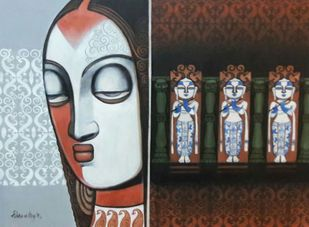 Untitled by Kishore Roy, Decorative Serigraph, Serigraph on Paper, Brown color
