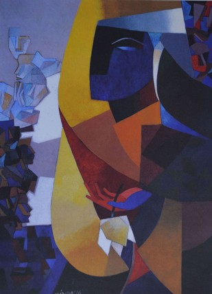 Untitled by Niren Sengupta, Geometrical Serigraph, Serigraph on Paper, Blue color