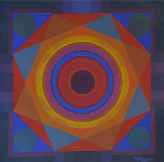 Untitled by O P Sharma, Geometrical Serigraph, Serigraph on Paper, Blue color