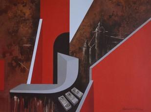 Untitled by Krishnendu Porel, Geometrical Serigraph, Serigraph on Paper, Brown color
