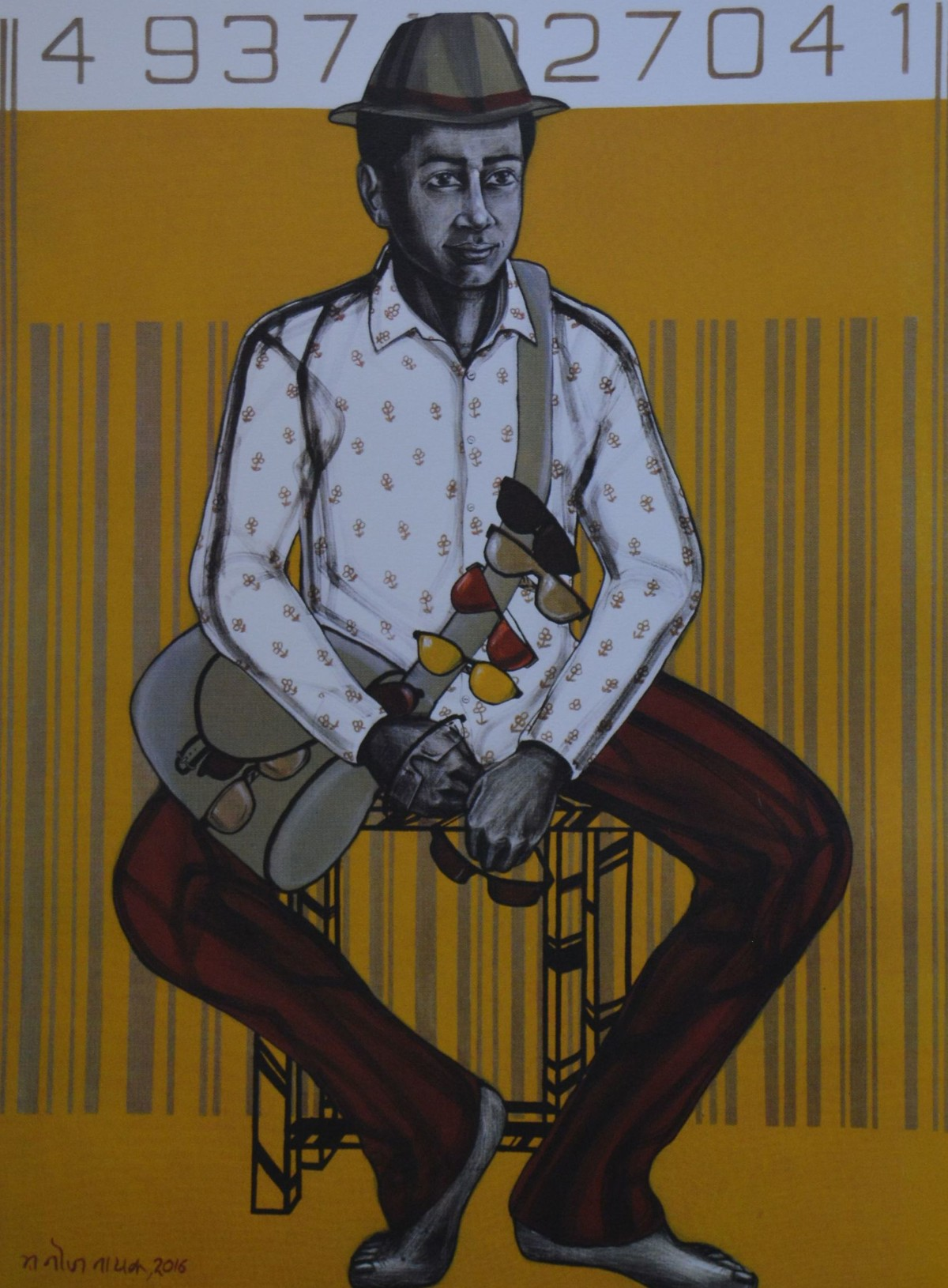 Untitled by Manoj Nayak, Expressionism Serigraph, Serigraph on Paper, Brown color