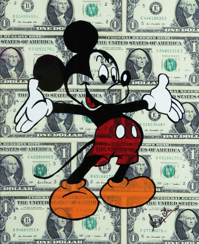 DOLLAR MICKEY (Real 1 Dollar Note) by Sanuj Birla, Pop Art Painting, Acrylic on Board, Beige color