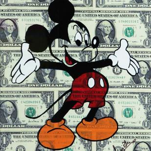 DOLLAR MICKEY (Real 1 Dollar Note) by Sanuj Birla, Pop Art Painting, Acrylic on Board, Beige color