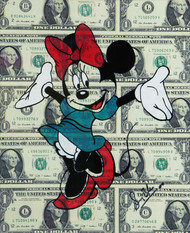 DOLLAR MINNIE (On Real 1 Dollar Notes) by Sanuj Birla, Pop Art Painting, Acrylic on Board, Beige color