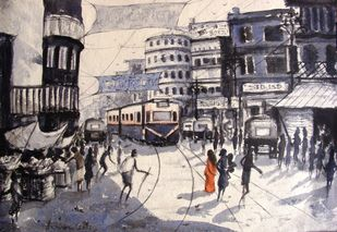 MORNING LIGHT - I by Anirban Seth, Impressionism Painting, Watercolor on Paper, Gray color