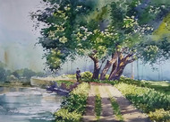 Good morning by Sunil Linus De, Impressionism Painting, Watercolor on Paper, Green color