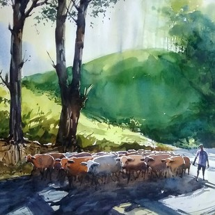 Going to field by Sunil Linus De, Impressionism Painting, Watercolor on Paper, Green color