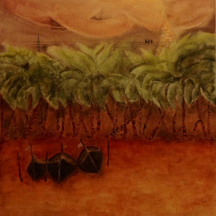 THREE BOATS by Navita Arjun Vohra, Impressionism Painting, Acrylic on Canvas, Brown color