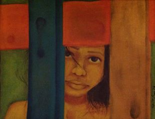 GIRL by Navita Arjun Vohra, Expressionism Painting, Oil on Canvas,