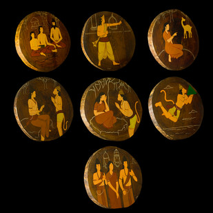 KaathRamayan by Henry Kanikai Raj, Art Deco Painting, Mixed Media on Wood, Brown color