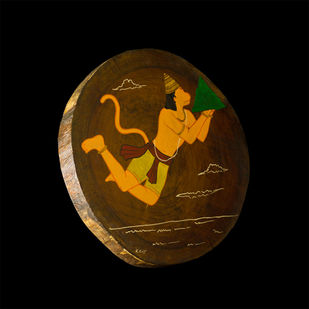 Ramayan by Henry Kanikai Raj, Traditional Painting, Mixed Media on Wood, Black color