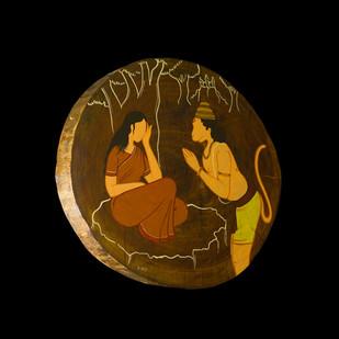 Ramayan by Henry Kanikai Raj, Art Deco, Art Deco Painting, Mixed Media on Wood, Black color
