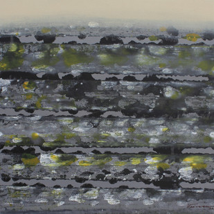 STELLAR MEMORIES 31 by V .Hariraam , Abstract Painting, Acrylic on Canvas, Gray color
