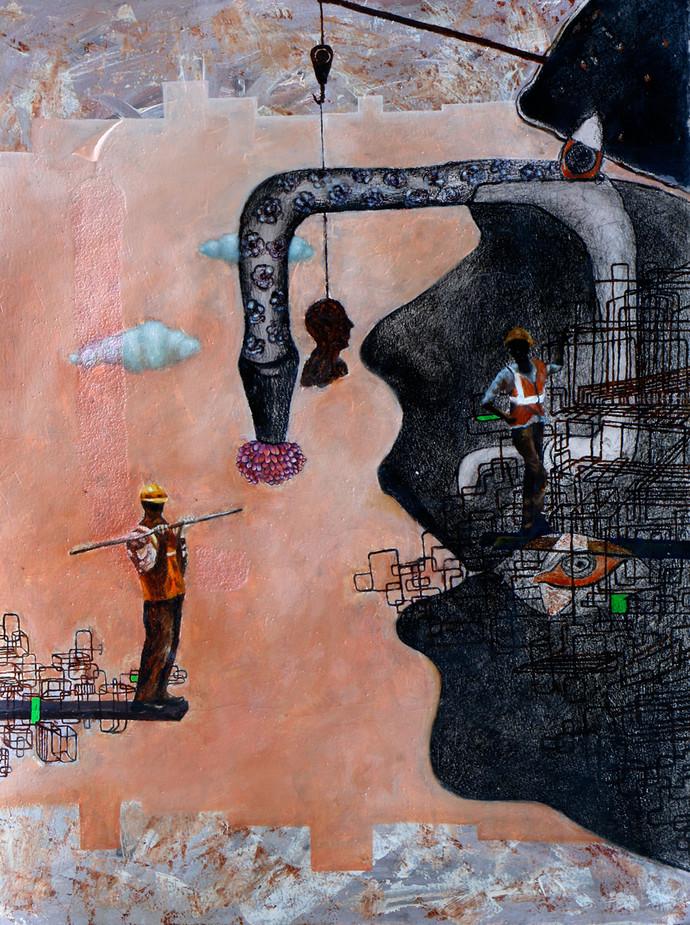 Interpersonal Relationaship-II by Satya VIjay Singh, Conceptual Painting, Mixed Media, Brown color