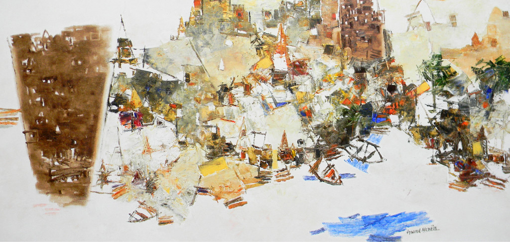 Banaras 30-2016 by Anand Narain, Abstract Painting, Oil on Canvas, Beige color