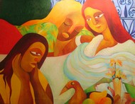 Day dreaming by Chaitali Chatterjee, Expressionism Painting, Oil on Canvas, Brown color