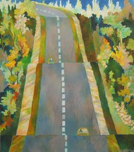 The Highway by Chaitali Chatterjee, Impressionism Painting, Oil on Canvas, Green color