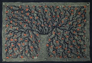 Madhubani Painting by Unknown Artist, Folk Painting, Acrylic on Canvas, Gray color