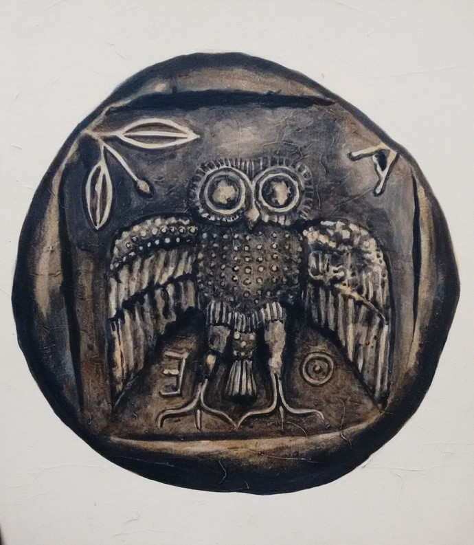 Auspicious coins 1 by Tapas Das, Expressionism Painting, Tempera on Board, Gray color