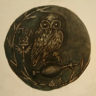 Auspicious coins 4 by Tapas Das, Expressionism Painting, Tempera on Board, Brown color
