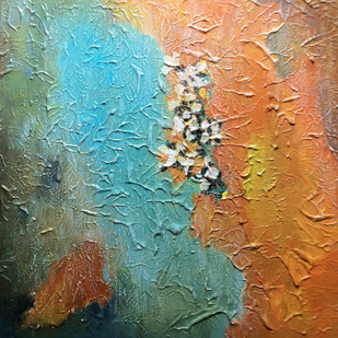 Whispers of the Universe (B) by Shan Re, Abstract Painting, Acrylic on Canvas, Brown color